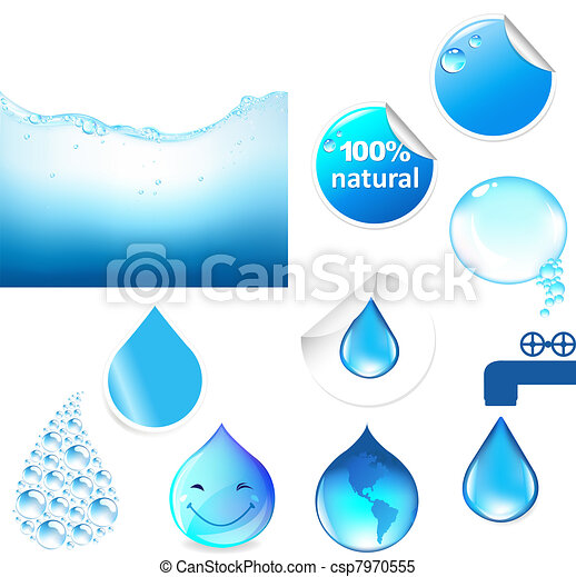 agua, símbolos, conjunto - csp7970555