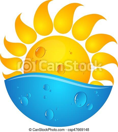 agua, sol, ilustración - csp47669148