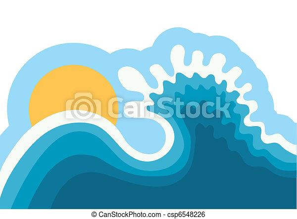 Ola en el océano. Un fondo de agua para surfear con sol. - csp6548226