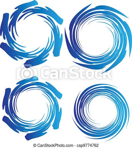 Las ondas de agua de la Tierra rodean el logotipo - csp9774762