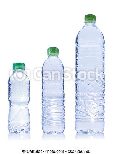 Tres botellas de plástico de agua - csp7268390