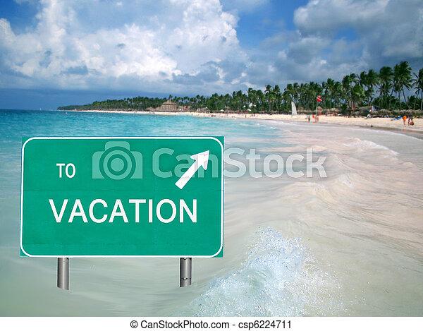 A la señal de vacaciones en agua tropical - csp6224711