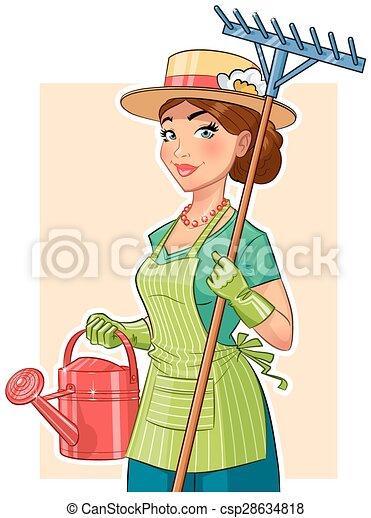 aguando, menina, ancinho, lata, jardineiro - csp28634818