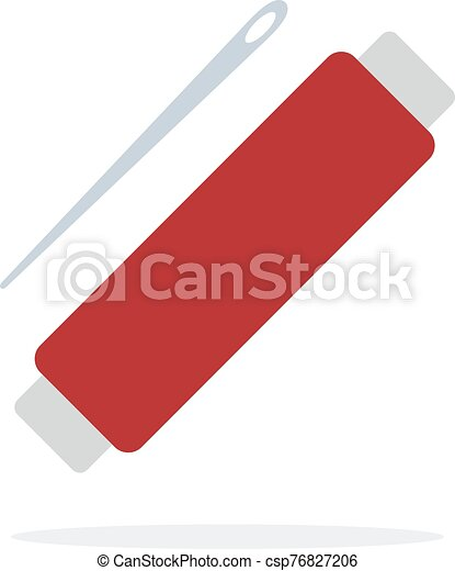 aguja, hilo rojo, plano, aislado, rollo - csp76827206
