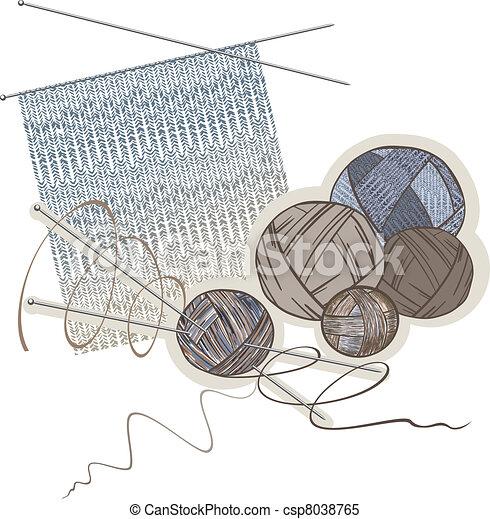 Agujas, bolas de lana y patrones de tejido - csp8038765