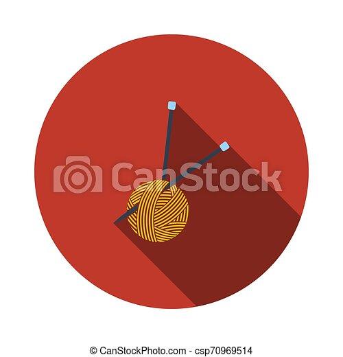 Bola de hilo con icono de agujas de tejer - csp70969514