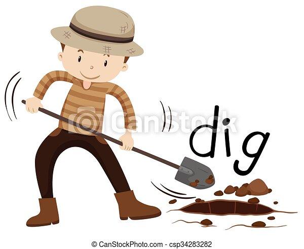 Hombre con pala cavando un agujero - csp34283282