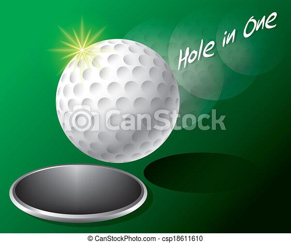 Bola de golf al borde del agujero - csp18611610