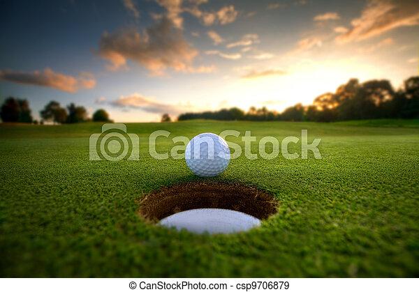 agujero, pelota, golf - csp9706879