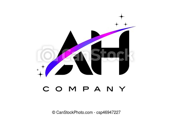 AH A H Black Letter Logo Design with Purple Magenta Swoosh