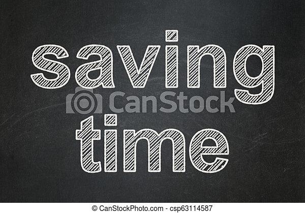 El concepto de la línea temporal: ahorrar tiempo en el fondo de pizarra - csp63114587