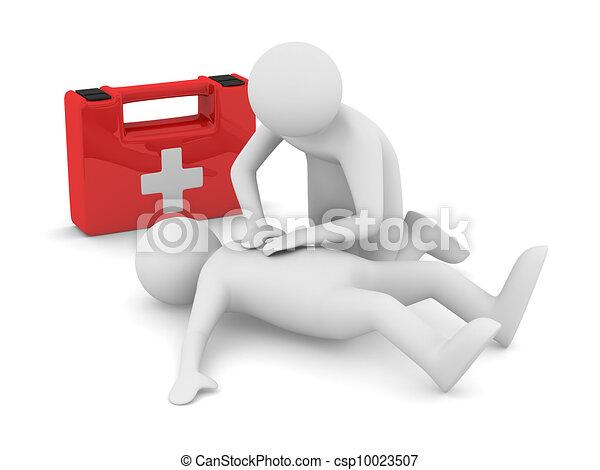Erste Hilfe. Künstlicher Atem. Isolierte 3D-Bild - csp10023507