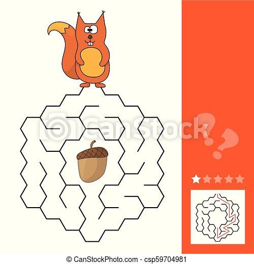 aide, jeu, manière, labyrinthe, pinecone, trouver, écureuil - csp59704981