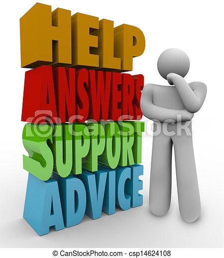 aide, pensée, conseil, réponses, à côté de, mots, soutien, homme - csp14624108