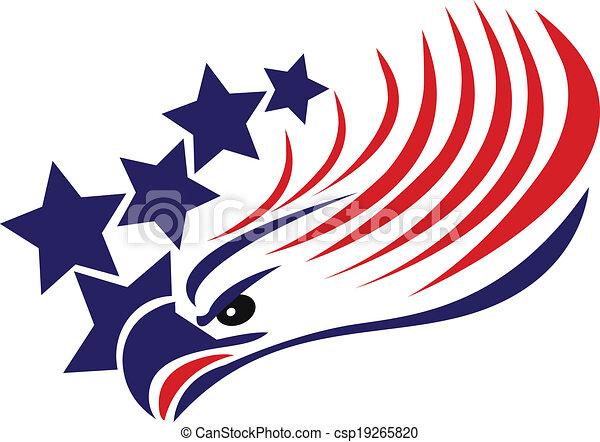 aigle, américain, chauve, drapeau, logo - csp19265820