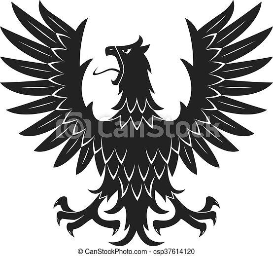 aigle héraldique noir agressif icône attitude