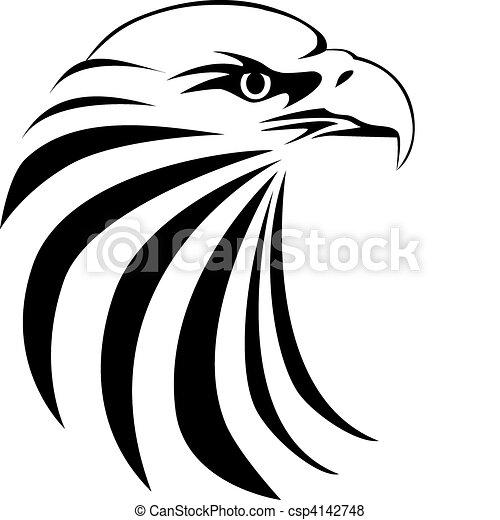 aigle, tête, tatouage - csp4142748