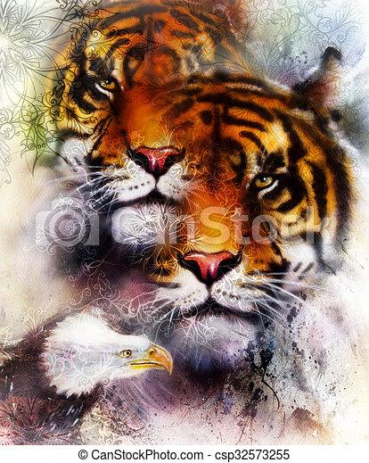 Aigle vie sauvage animaux brun d coratif color - Mandalas de tigres ...