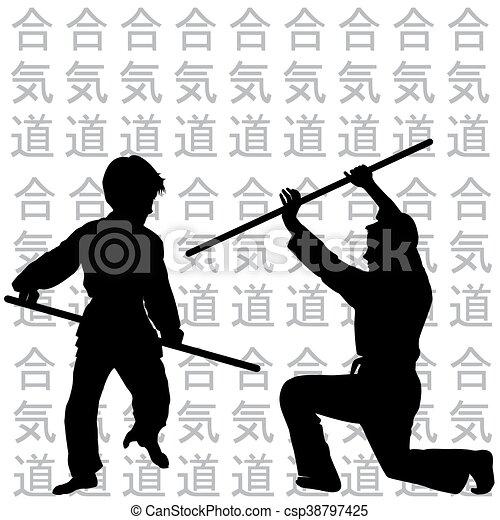 aikido, beoefenen, kinderen - csp38797425