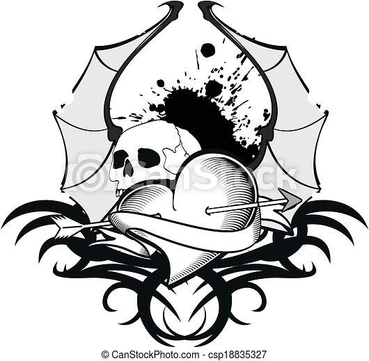 Dessin tatouage coeur noir et blanc tatouage - Dessin de coeur avec des ailes ...