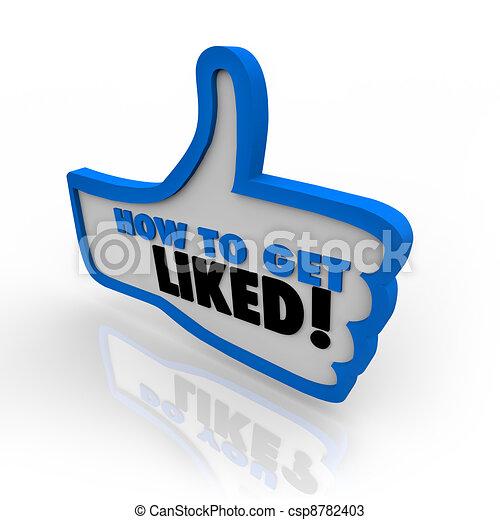aimé, obtenir, symbole, haut, comment, pouces, mots - csp8782403