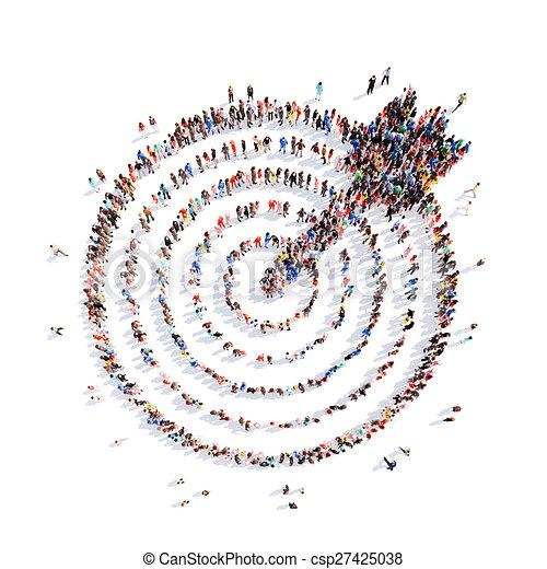 aim., 形, 矢, ターゲット, 人々 - csp27425038