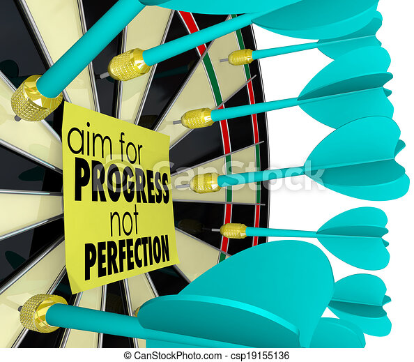 Aim for Progress Not Perfection Dart Board Improvement - csp19155136