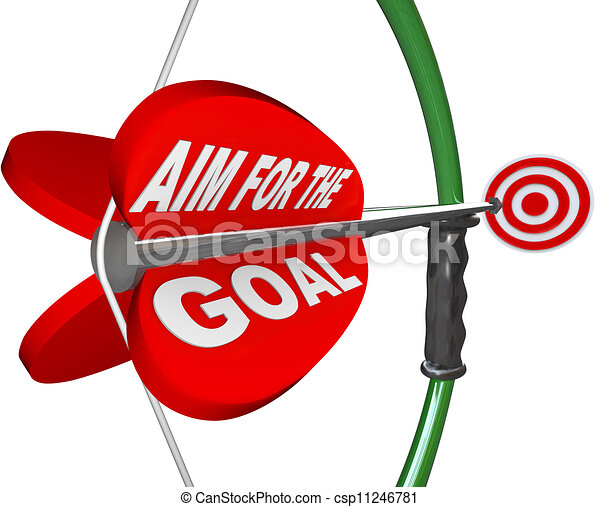 Aim for the Goal Bow and Arrow Bullseye Target - csp11246781
