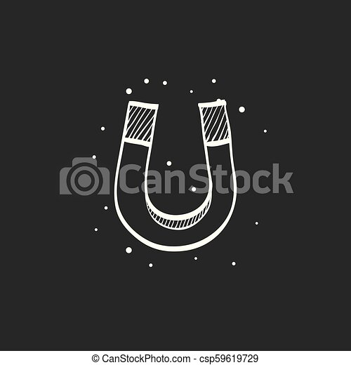 aimant, noir, croquis, -, icône - csp59619729