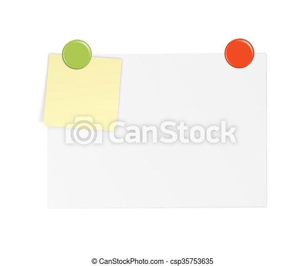 aimant, notes, papier, blanc - csp35753635