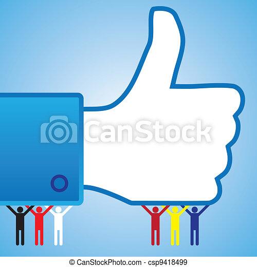 aimer, coloré, gens, symbole, haut, main, pouce - csp9418499