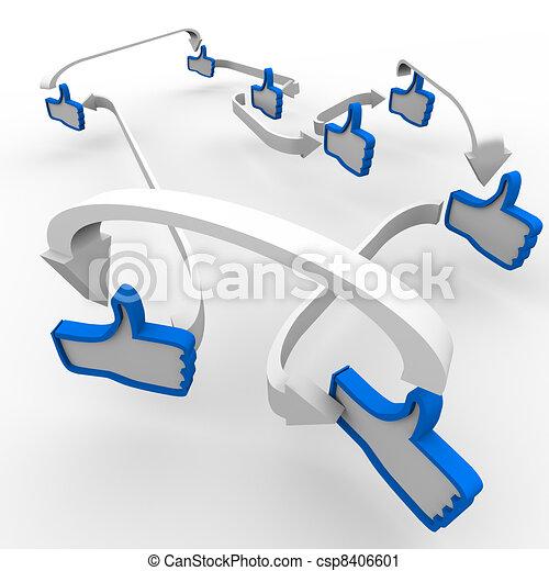 aimer, communication, haut, symboles, connecté, pouce - csp8406601