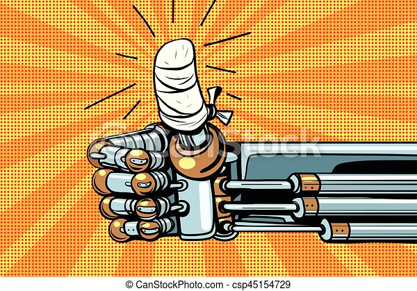 aimer, haut, robot, geste, main bandée, pouce - csp45154729