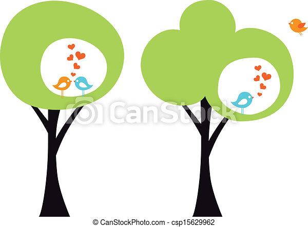 aimer oiseaux, vecteur, arbre - csp15629962