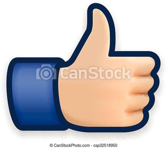 aimer, symbole, pouce haut, icône, emoji - csp32518950