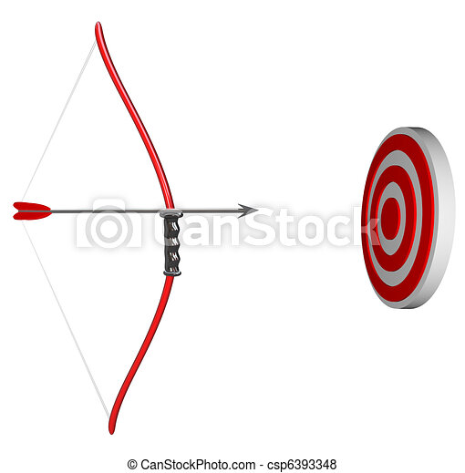 Aiming at Your Target - Bow and Arrow Focus on Bulls-Eye - csp6393348