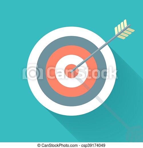 Aiming concept, the arrow in bulls eye - csp39174049