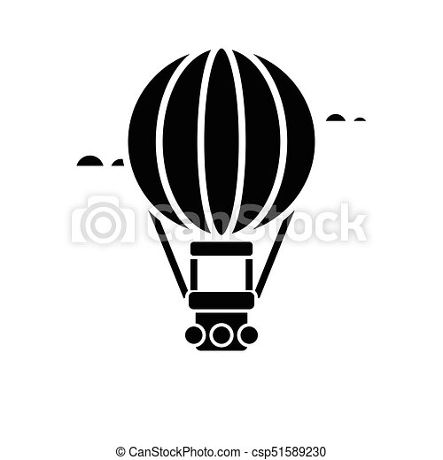 air balloon - aerostat icon, vector illustration, black sign on isolated background - csp51589230