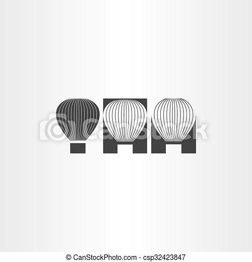 air balloon black icon set - csp32423847
