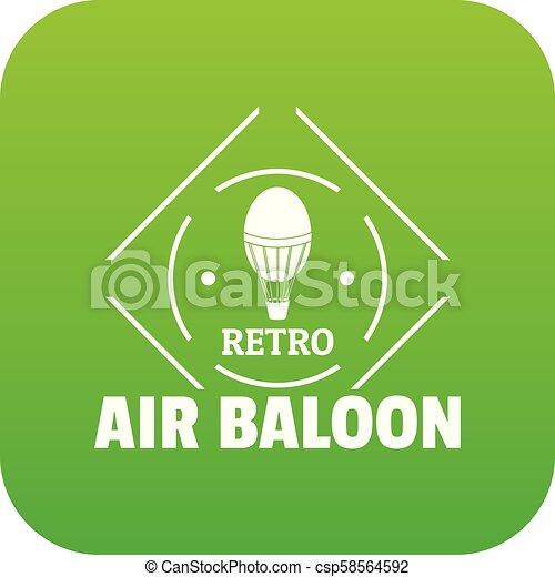 Air balloon icon green vector - csp58564592