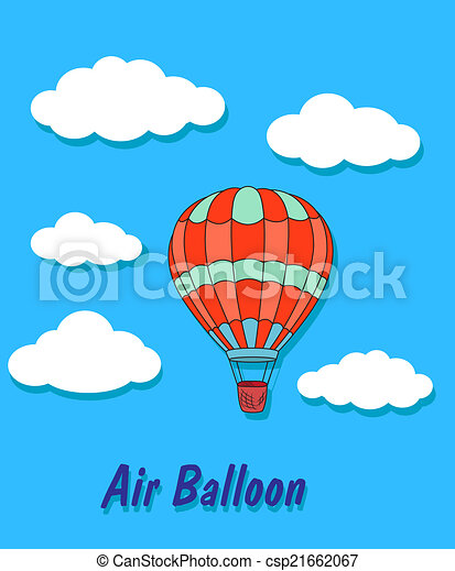 air balloon in sky and clouds cartoon air balloon and clip art rh canstockphoto com sky clipart background sky clipart black and white