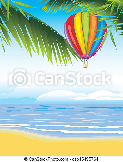 Air balloon on the seascape - csp15435764