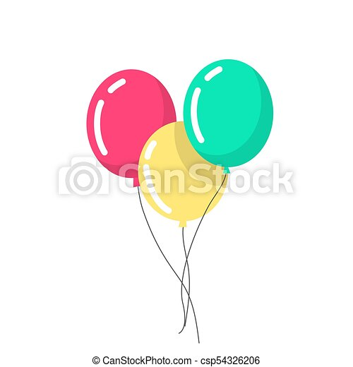 Air balloons in a flat style.  balloons are Isolated on white background - csp54326206