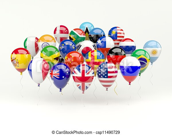 Air balloons with flags isolated on white - csp11490729