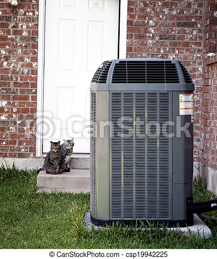 Air conditioner and two cats - csp19942225