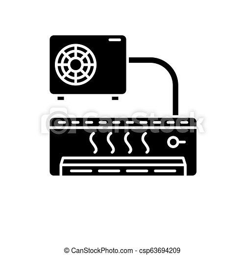 Air conditioner black icon, vector sign on isolated background. Air conditioner concept symbol, illustration - csp63694209