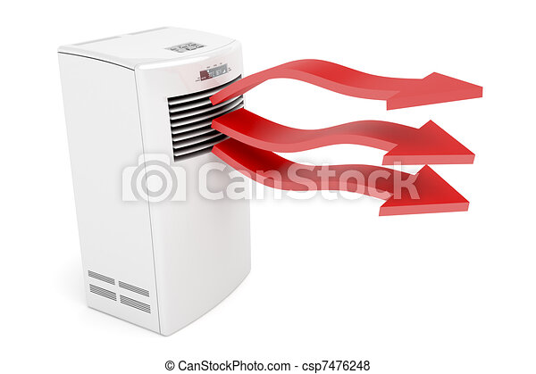 Air conditioner blowing hot air - csp7476248
