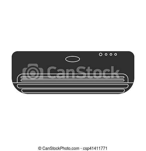 Air conditioner icon in black style isolated on white background. Hotel symbol stock vector illustration. - csp41411771