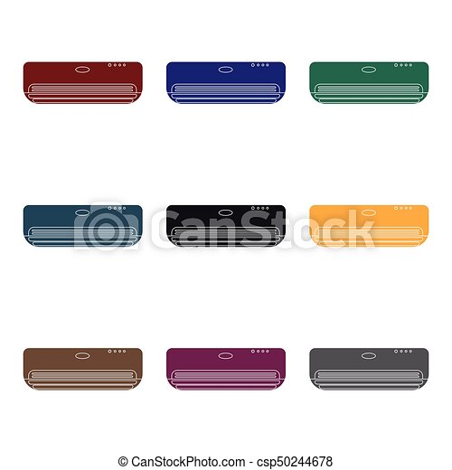 Air conditioner icon in black style isolated on white background. Hotel symbol stock vector illustration. - csp50244678
