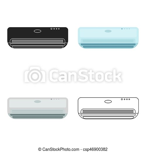 Air conditioner icon in cartoon style isolated on white background. Hotel symbol stock vector illustration. - csp46900382